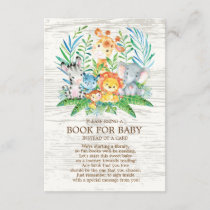 Safari Jungle Neutral Baby Shower Book for Baby Enclosure Card