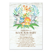 Safari Jungle Neutral Baby Shower Book for Baby Invitation