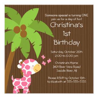 Safari Jungle Pink Giraffe Kid Birthday Party Personalized Invite
