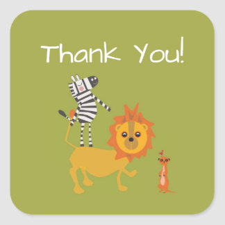 Safari Jungle Thank You Animal Sticker
