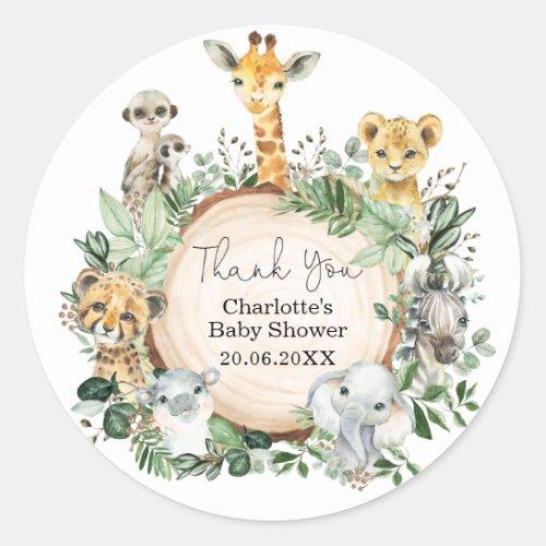 Safari Jungle Wild Animals Greenery Baby Shower Classic Round Sticker