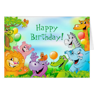 Safari jungle with smiling animals Happy Birthday Card