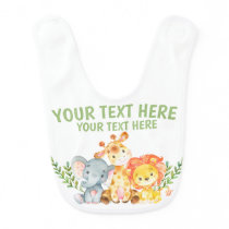 Safari Jungle Zoo Animals Baby Bib