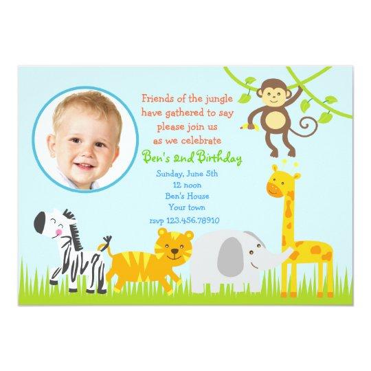 Safari Jungle Zoo Animals Birthday Invitations