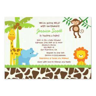 Safari Jungle Zoo Baby Shower Invitations