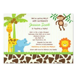 Elegant Safari Jungle Zoo Baby Shower Invitations