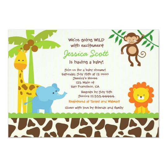 Zoo invitations announcements zazzle safari jungle zoo baby shower invitations stopboris