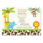 "Safari Jungle Zoo Baby Shower Invitations 5"" X 7"" Invitation Card"