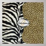 Safari Leopard and Zebra Print Monogram