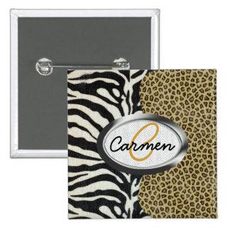Safari Leopard and Zebra Print Monogram 2 Inch Square Button