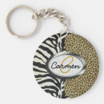 Safari Leopard and Zebra Print Monogram Basic Round Button Keychain