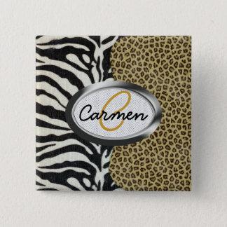 Safari Leopard and Zebra Print Monogram Button