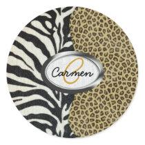 Safari Leopard and Zebra Print Monogram Classic Round Sticker