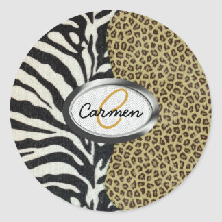 Safari Leopard and Zebra Print Monogram Classic Round Sticker