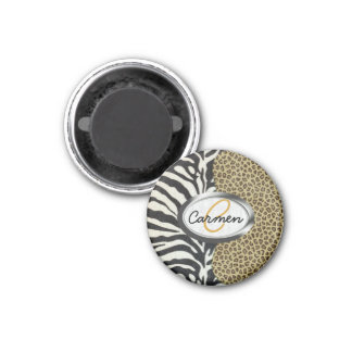 Safari Leopard and Zebra Print Monogram Magnet