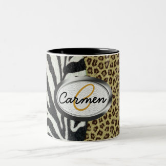Safari Leopard and Zebra Print Monogram Two-Tone Coffee Mug