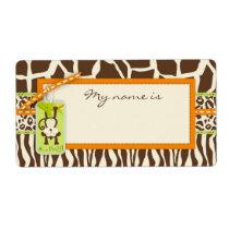 Safari Monkey Animal Print Baby Shower Label