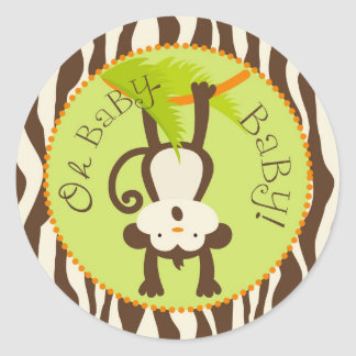 Safari Monkey Animal Print Baby Shower Round Stickers