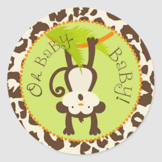 Safari Monkey Animal Print Baby Shower Stickers