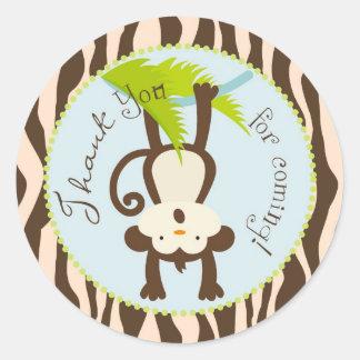 Safari Monkey Animal Print Baby Shower Round Sticker
