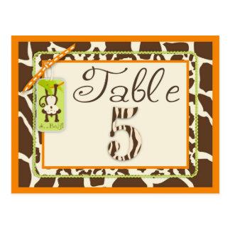 Safari Monkey Animal Print Baby Shower Table Card