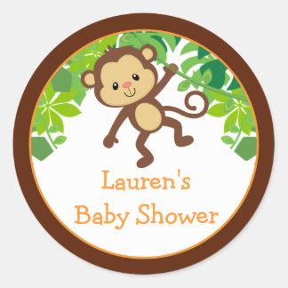 Safari Monkey Baby Shower Favor Stickers