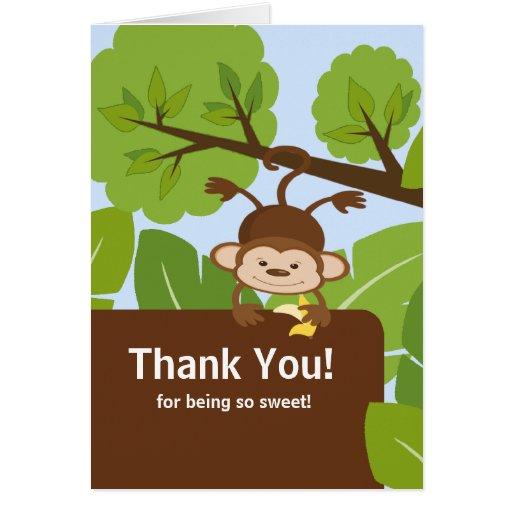 safari monkey baby shower thank you note card zazzle