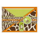 Safari Monkey & Pacifier Animal Print Baby Shower Greeting Card