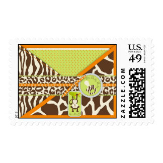 Safari Monkey & Pacifier Animal Print Baby Shower Postage Stamps