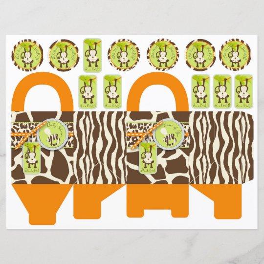 safari monkey pacifier animal print box template zazzle com