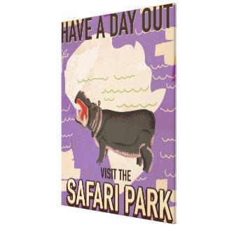 Safari Park vintage travel poster. Canvas Print