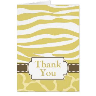 Safari Print Thank You Card - Yellow
