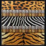 "Safari Prints Cloth Napkin<br><div class=""desc"">Safari theme prints; leopard,  cheetah,  zebra,  and tiger on background and tiled strips</div>"