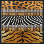 "Safari Prints Cloth Napkin<br><div class=""desc"">Safari theme prints; leopard,  cheetah,  zebra,  and tiger on background and tiled strips</div>"