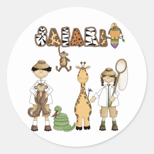 Safari Round Stickers