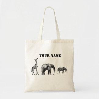 Safari sofisticado, jirafa, elefante y cebra bolsa tela barata