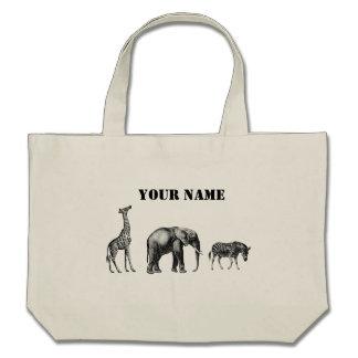 Safari sofisticado jirafa elefante y cebra bolsa lienzo
