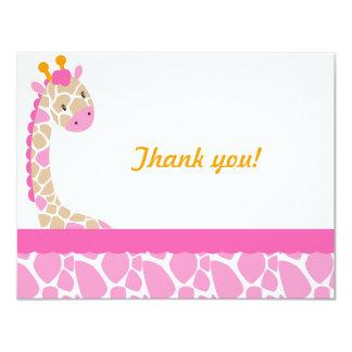 Safari Sweetness Giraffe  Thank you note-Pink 4.25x5.5 Paper Invitation Card