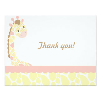 Safari Sweetness Giraffe  Thank you note-Pink-Yell 4.25x5.5 Paper Invitation Card