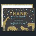 "Safari Thank You Card, Faux Glitter, Aqua Blue<br><div class=""desc"">Say,  &quot;Thank you!&quot; to family and friends with this sweet thank you card!</div>"