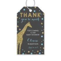 Safari Thank You Tag, Aqua Blue, Faux Gold Glitter Gift Tags