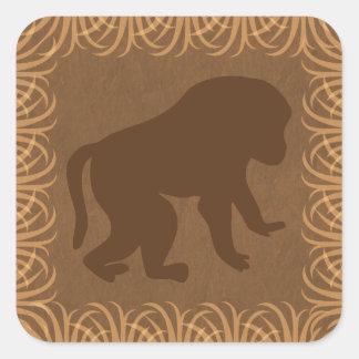 Safari Theme Baboon Silhouette Square Sticker