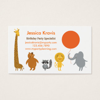 Safari Theme Birthday Party Planner Business Card