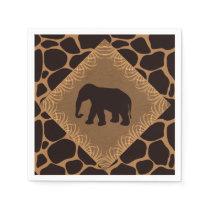 Safari Theme Elephant Over Giraffe Print Napkin