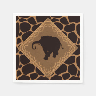 Safari Theme Elephant Over Giraffe Print Napkin