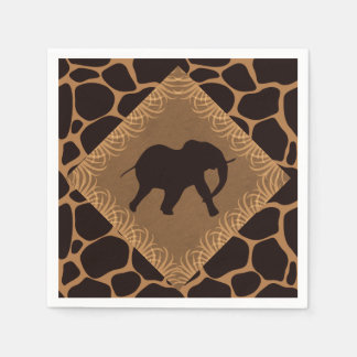 Safari Theme Elephant Over Giraffe Print Paper Napkin