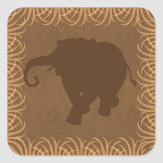 Safari Theme Elephant Silhouette Square Sticker