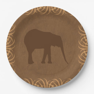 Safari Theme Elephant with Tall Grass Border Paper Plate
