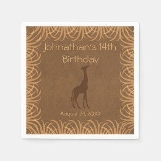 Safari Theme Giraffe Personalized Napkin