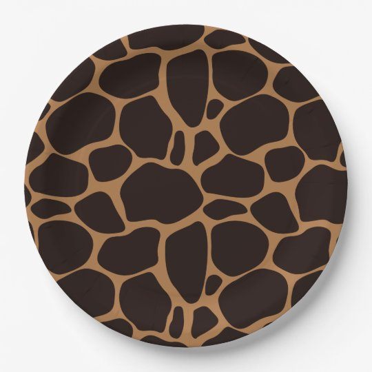 Safari Theme Giraffe Print Paper Plate Zazzle Com